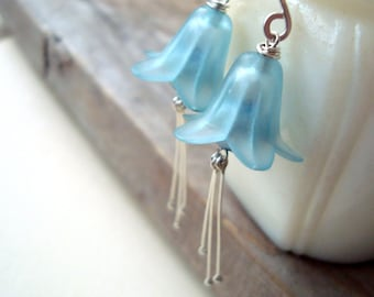 Blue Flower Earrings Sterling Spring Jewelry Mothers Day Gifts Under 50 Bridal Jewelry Gifts For Her Weddings Vintage Style Shabby Chic