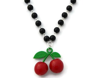 Rockabilly Cherry Necklace, Black Faux Pearls, Retro Pinup Jewelry, Women, Girls, 40s, 50s, Plastic jewelry