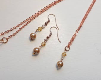 Pearl necklace and earring set - Bronze