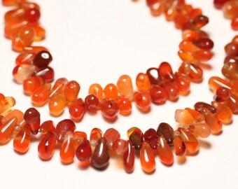 10pc - stone beads - carnelian drops 7-9mm N2 - 8741140022768