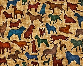 Dog Fabric - It's a Ruff Life from Quilting Treasures - Full or Half Yard Antique Gold Dog Silhouettes