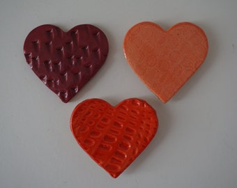 Handmade Ceramic Heart Magnets- set of 3