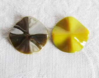 16 Extra Large Yellow Acrylic Wavy Round Beads, Double Sided