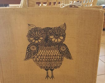 Natural jute tote with black owl