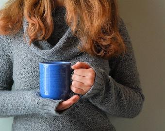 ceramic coffee mugs, handmade pottery mug, unique gift, coffee lover's gift, tea mug, mug set, large coffee mug, large tea mug, blue pottery