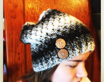 Crocheted Black/Grey Wool Blend Slouchy Hat w/Buttons