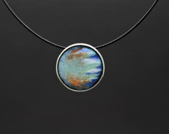 Sterling silver enamel pendant sgraffito vitreous enamel necklace fired on copper