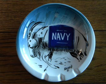 Sascha Brastoff Mid Century Pottery Ashtray with US Naval Academy Mascot, Bill the Goat with NAVY Blanket on goat.  Very Rare and unique