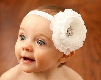 White Baptism headband, newborn headband, infant headband, baby headband, flower headband, white baby headband, Christening head