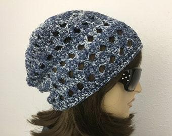 """Women Crochet Summer Hat Women Summer Slouchy Beanie in Denim Blue with White """"Splash"""" Cotton Yarn Women Spring Hat"""