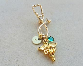 DNP Doctorate of Nursing Practice Gold Tone Nurse Practioner Handstamped Personalized Crystal Birthstone Initial Pin Brooch
