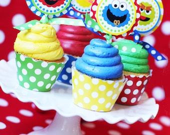 Sesame Street Birthday Party | Sesame Street Cupcake Toppers | Elmo Birthday Cupcake | Sesame Street 1st Birthday | Amanda's  Parties To Go
