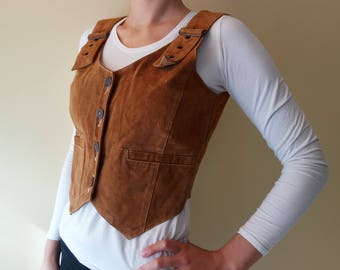 Vintage Suede Leather Womens Vest Top Camel Brown Suede Leather Vest Vintage Country Cowboy Western Waistcoat Octoberfest Suede Leather Top