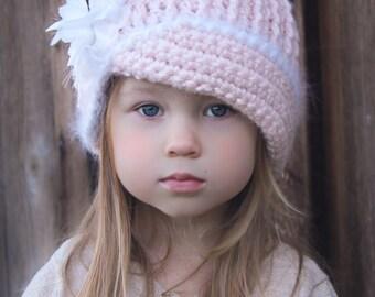 Crochet Hat Pattern: 'Vintage Twist', Fabric Flower, Winter Fashion, Newborn to Women,