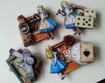 Alice in Wonderland, brooch, broach, choose style, drink me, painting roses red, cards, bottle, alice, by NewellsJewels on etsy