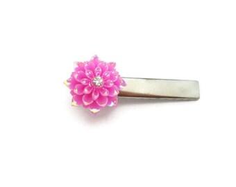 Pink  Flower Hair Clip Kawaii Hair Clip Resin Pink Flower Hair Clip Flower Alligator Clip Shiny Hair Clip Dahlia Hair Clip Mum