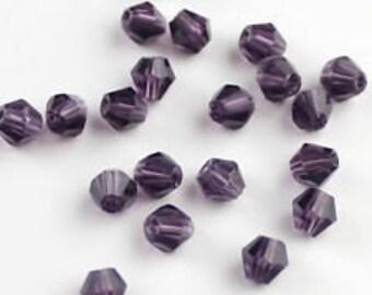Purple Swarovski 4 mm bicone bead 30 beads violet bicone 4 mm bead