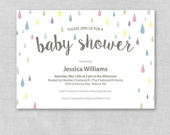 Printable Raindrop Baby Shower Invite, Neutral Baby Shower Invitation, Rain Baby Shower