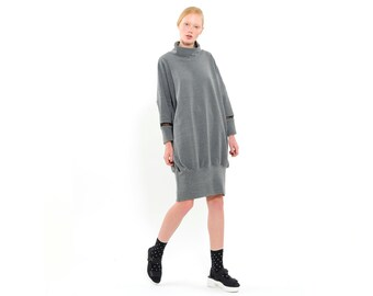 Sweatshirt Dress - everyday dress- Hoodie Dress - cool dress
