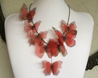 I Will Fly Away - Handmade Red Silk Organza Butterflies Necklace - One of a Kind