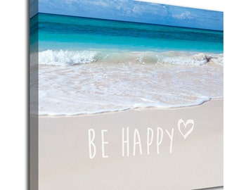 Be Happy inspirational quote beach canvas art picture