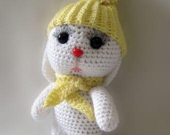 Knitted hare. Amigurumi hare. White hare Handmade. Little hare