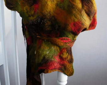 Felted Merino Scarf, with beaded knitted inclusions.