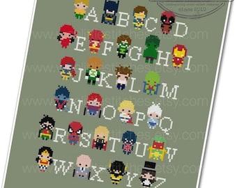 Superhero Alphabet Sampler - The *Original* Pixel People Minis - PDF Cross-stitch Pattern - INSTANT DOWNLOAD