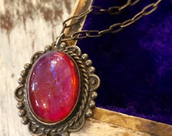 Beautiful Dragons Breath Jelly Art Glass Opal Sterling Silver Vintage Necklace