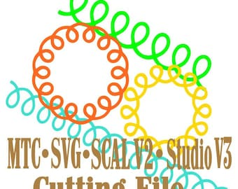 Loopy Border and Loopy Circles Cut Files MTC SVG Silhouette SCAL v2 Digital Format Bundle of 4