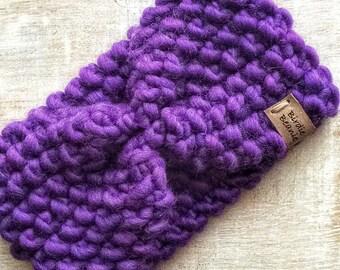 Headband - wool headband - headband woman chunky purple wool - purple wool ear warmer - Headband wool Headband woman