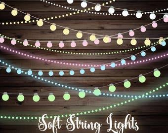 Soft String Lights Clipart, Wedding string lights, baby shower string lights, pastel lights clip art, fairy lights, digital garden lights