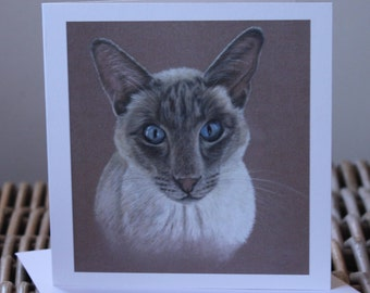 Artist card, hand drawn card, Siamese card, cat card, cat gift, birthday card, cat, art card, special occasion card, card, cat birthday card
