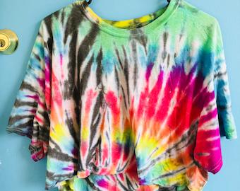 Rainbow tiedye crop top