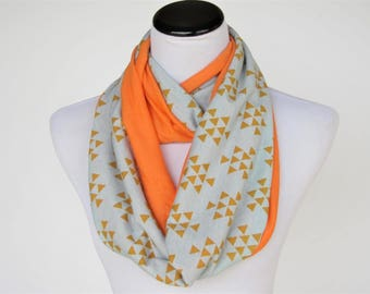 Reversible Teal scarf teal and mustard scarf mint orange scarf iInfinity scarf mint mustard soft jersey knit scarf cotton loop circle scarf