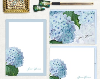 complete personalized stationery set - BLUE HYDRANGEA - note cards - notepad - custom stationary - botanical - floral - flowers