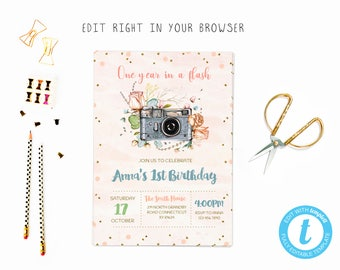 Floral camera birthday tem, TRY BEFORE you BUY, instant download, edit yourself invitation,Template Editable