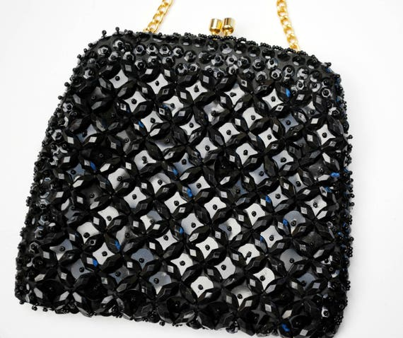 Black beaded   evening bag   - Signed Made in Hong Kong - vintage hand bag  purse Clutch - gold  chain strap