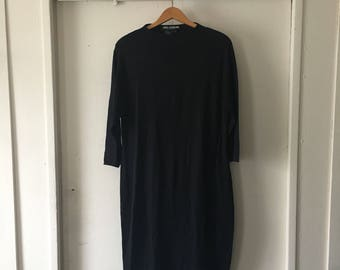 Black high neck long sleeve midi knit dress