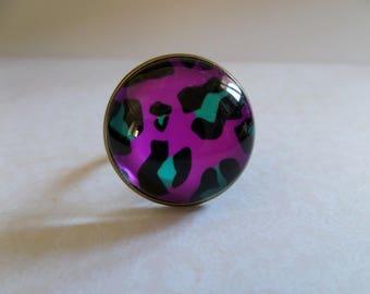 Glass cabochon ring * Fuchsia Leopard * 20 mm