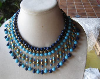 REDUCED Vintage Egyptian Revival bookchain turquoise blue glass bead necklace