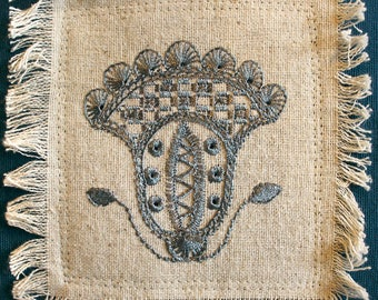 """Navy Blue Folk Embroidered Floral 12x11"""" Pillow"""