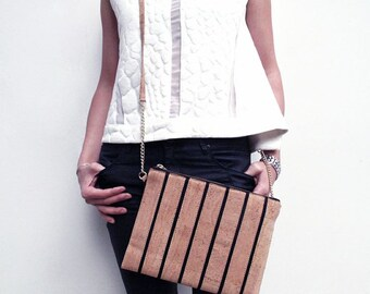 Striped Cork Crossbody Bag -Free US Shipping