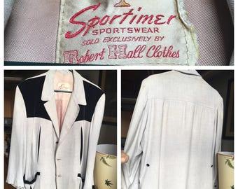 1950's Classic Rockabilly Sportimer Men's Velvet Lounge Sport Coat Large Size