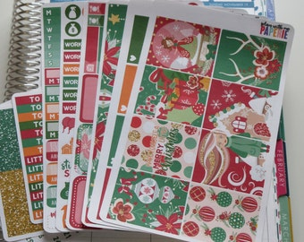 KIT Merry Christmas Full Deluxe Kit Sized to Fit Erin Condren Life Planner Planner Stickers