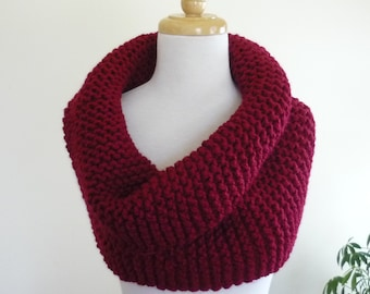 Chunky Knit Cowl Over Size Super Snuggly Cowl Chunky Snood in Wool Blend - Cranberry -  Ready to Ship Direct Checkout Gift for Her