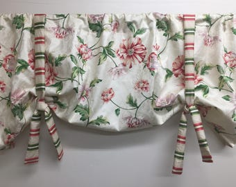 Window valance, tie up window valance, floral window valance, floral tie up valance, floral valance