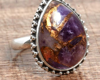 Natural Copper Amethyst Gemstone Unique 925 Sterling Silver Ring US Ring Size 8 1/2