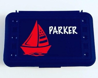 Personalized Pencil Box, Sailboat, Back to School, School Supplies, Pencil Case, Pencil Box, Sailing Pencil Box, Sailboat Pencil Box, Boat