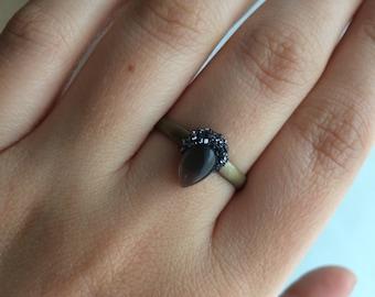 Grey Moonstone Crescent Moon Adjustable Ring